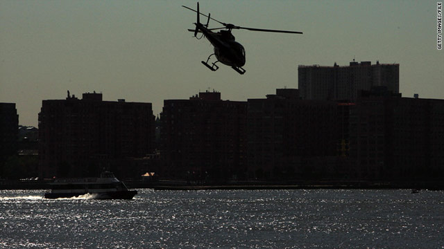 A helicopter flies over the Hudson River in this 2009 file photo.