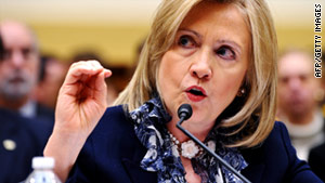"Hillary Clinton told senators that Iran has made efforts to ""influence events"" in Egypt, Bahrain and Yemen."