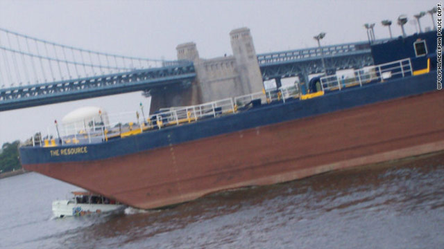 A barge struck a tour boat July 7 on the Delaware River near Philadelphia. Two tourists drowned and 26 passengers were hurt.