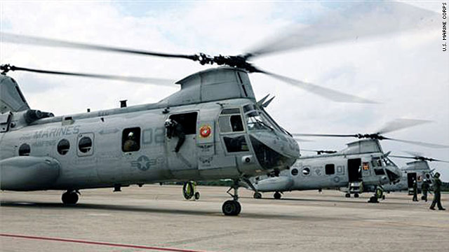 CH-46E Sea Knight helicopters flew to mainland Japan to provide rescue equipment Saturday. More aid is expected Sunday.