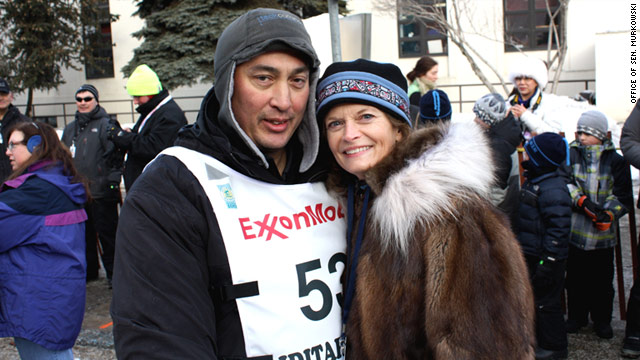 Sen. Lisa Murkowski, R-Alaska, congratulates John Baker for winning the Iditarod.