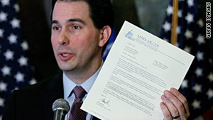 Wisconsin Gov. Scott Walker pushed for legislation curbing the collective bargaining rights of state employees in unions.