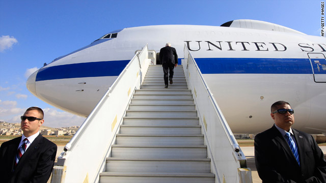 "Defense Secretary Robert Gates boards the ""Doomsday Plane"" as he wraps up a six-day trip to Russia and the Middle East."