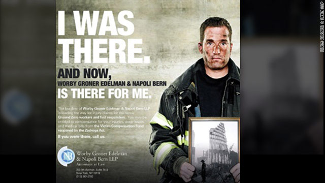 Model Robert Keiley, a New York firefighter, was holding a helmet in the original photo, his attorney says.