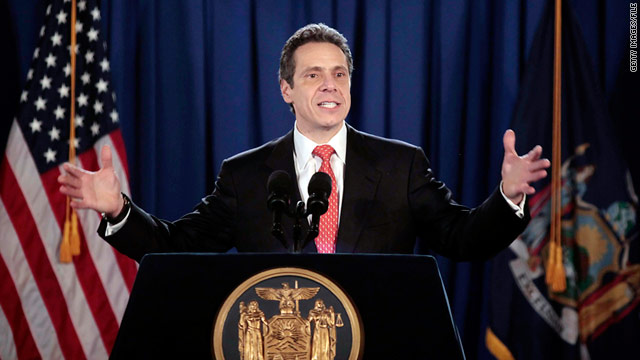 Gov. Andrew Cuomo, shown at his inauguration, claimed victory Thursday when New York approved a reduced budget.