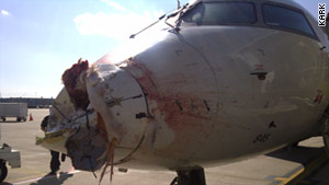 Damage to the aircraft's nose was severe after it struck a flock of cranes near Little Rock, Arkansas.
