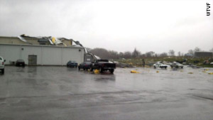 About 184 employees were inside a manufacturing plant when the storm arrived shortly after 1 p.m., police say.