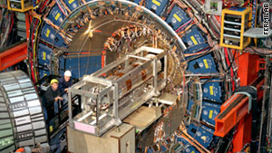The CDF detector at Tevatron helps scientists look for new particles.