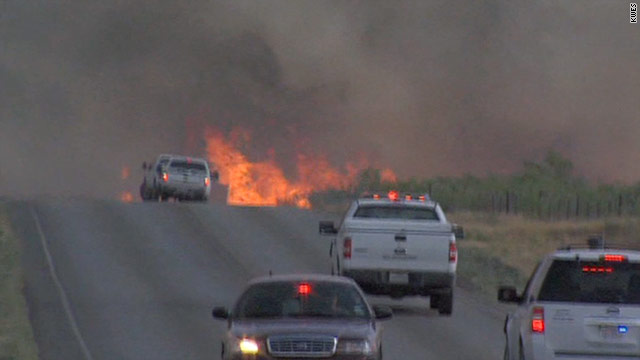 A fire over 16,500 acres in Midland County, Texas, has burned more than 30 homes.
