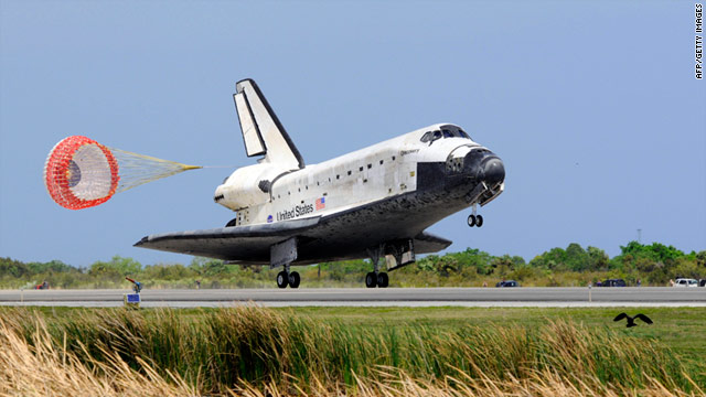 The space shuttle Discovery lands in March at Florida's Kennedy Space Center.
