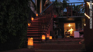 Candles light the steps for a party to remember Kirby Brown at the Havana Supper Club in San Jose del Cabo.