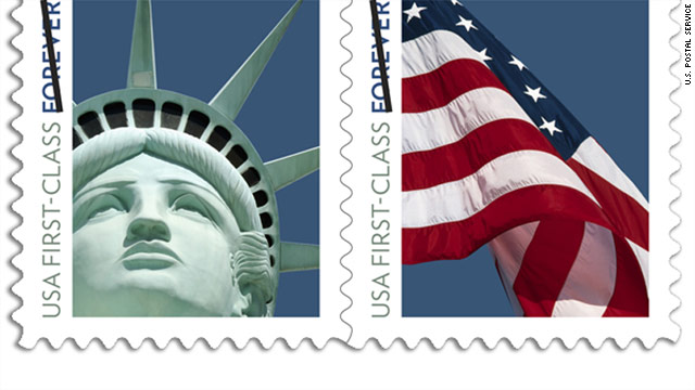 The Lady Liberty stamp went on sale December 1 paired with with a flag stamp.