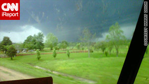 Harry Dixon was driving on Highway 16 when he took this photo of a funnel cloud near DeKalb, Mississippi.