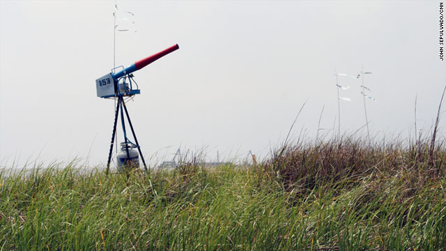 Propane-fueled sound guns are designed to scare away birds and keep them safe while oil cleanup continues.