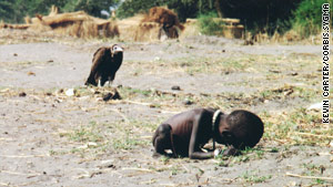 Kevin Carter's photo that captured the famine in Sudan earned the 1994 Pulitzer Prize. He committed suicide later that year.
