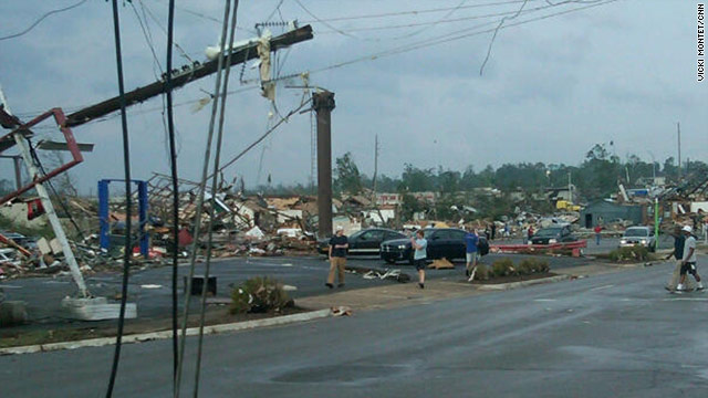 Organizations are at work providing food and shelter to people in places such as Tuscaloosa, Alabama, above.