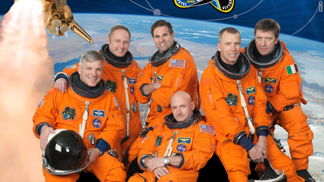 Endeavour's crew (from left): Gregory H. Johnson, Michael Fincke, Greg Chamitoff, Mark Kelly, Michael Feustel, Robert Vittori.
