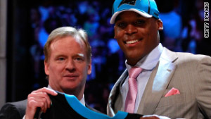 NFL Commissioner Roger Goodell at last night's NFL draft with No. 1 pick Cam Newton