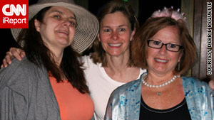 Liz Olson, from left, Susan Powell and Ann McQueen celebrate the royal wedding Friday in San Juan, Puerto Rico.