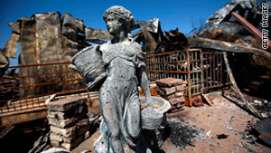The remains of a home near Strawn, Texas,. Authorities have responded to 7,807 fires  since wildfire season began.