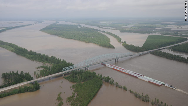 The Mississippi River overflowed its banks near Cairo, Illinois, last week.