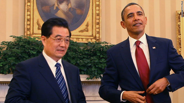 Barack Obama and Hu Jintao meet in the Oval Office at the White House on January 19, 2011.