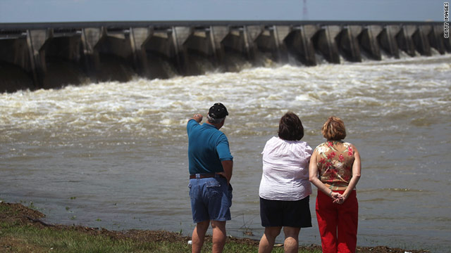 Water from the rising Mississippi River pours over the Bonnet Carre Spillway in Norco, Louisiana, on Tuesday.