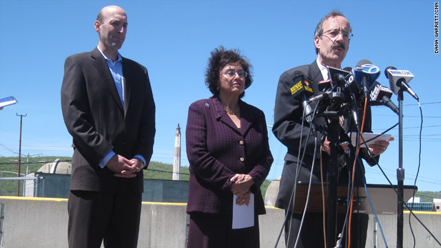 NRC Chairman Gregory Jaczko (left) and U.S. Reps. Nita Lowey and Elliot Engel speak outside the Indian Point nuclear plant.