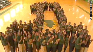 Students at Booker T. Washington High School in Memphis celebrate their No. 1 status.