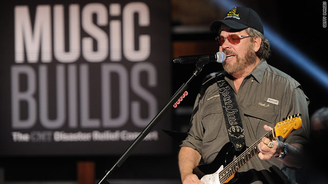 """Hank Williams Jr. records a performance Thursday for """"Music Builds: The CMT Disaster Relief Concert."""""""