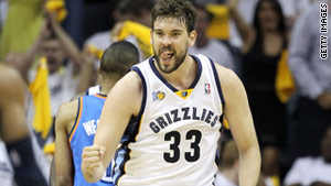 Marc Gasol of the Memphis Grizzlies celebrates during  Monday's playoff game.