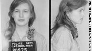 Freedom Rider Joan Mulholland after being arrested at age 19 for riding with black passengers on an interstate bus.