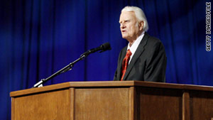 Billy Graham preaches during the Celebration of Hope on March 12, 2006, in New Orleans.