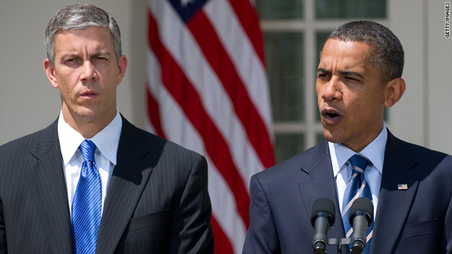 President Obama, right, speaks about education accompanied by U.S. Secretary of Education Arne Duncan.