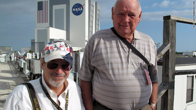 Lloyd Behrendt, left, and John Johnson are members of the close-knit family of shuttle fans who regularly attend launches.