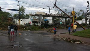 Widespread damage from severe weather was reported across Minneapolis on Sunday.
