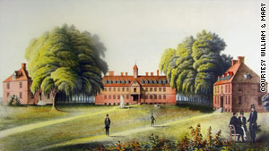 The Wren Building, a signature structure at William & Mary, seen here in a print, might have been built with slave labor.