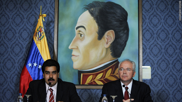 Venezuela's ministers of foreign affairs Nicolas Maduro, left, and energy and petroleum Rafael Ramirez slam the move Tuesday.