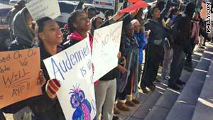 Students from Audenried High School protested their public school's transition to a charter school.