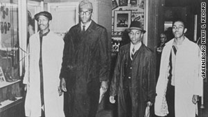 David Richmond (from left), Franklin McCain, Ezell Blair Jr. (now Jibreel Khazan) and Joseph McNeil after their 1960 protest.
