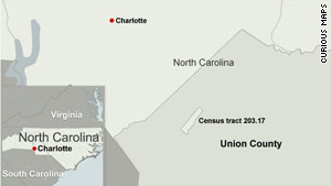 North Carolina census tract 203.17 in Union County grew by more than 970% between 2000 and 2010.