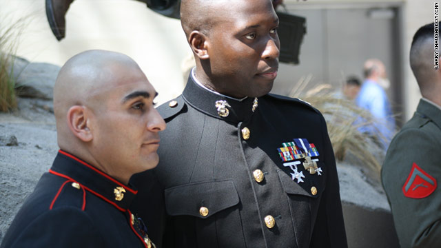 Staff Sgt. Juan Rodriguez-Chavez, left, and Capt. Ademola Fabayo, awarded the Navy Cross, are now trainers.