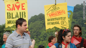 Chuck Keeney prepares to address protestors marching on Blair Mountain last week.