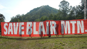 Protesters opposed to mountaintop removal coal mining reach their destination at the top of Blair Mountain last week.