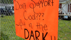 Coal industry supporters posted a sign along the route traveled by mountaintop removal protestors.