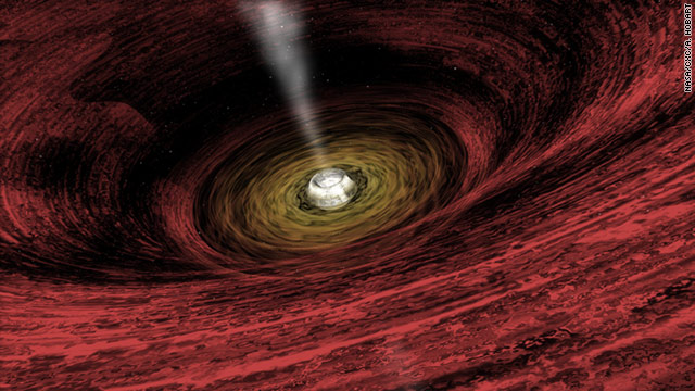 A supermassive black hole, with a disc of gas rotating around the central object, is shown in this artist's impression.