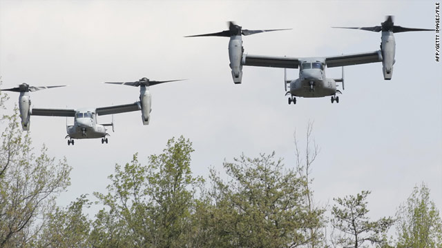Beachgoers on the U.S. East Coast may see U.S. Marine Corps MV-22 Ospreys like these overhead next week.