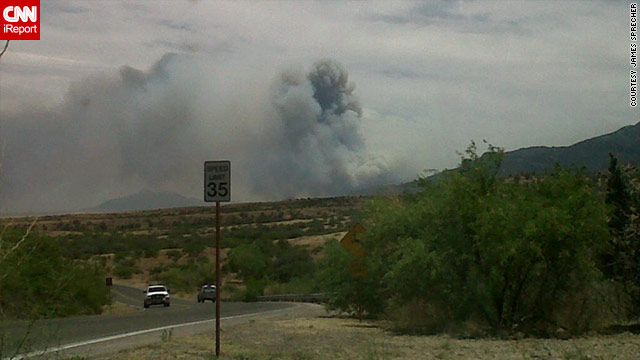 iReporter James Sprecher photographed the smoke from the Monument Fire in Arizona on Thursday.