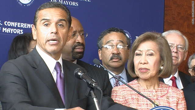 Democratic Los Angeles Mayor Antonio Villaraigosa (left) is the newly elected head of the U.S. Conference of Mayors.