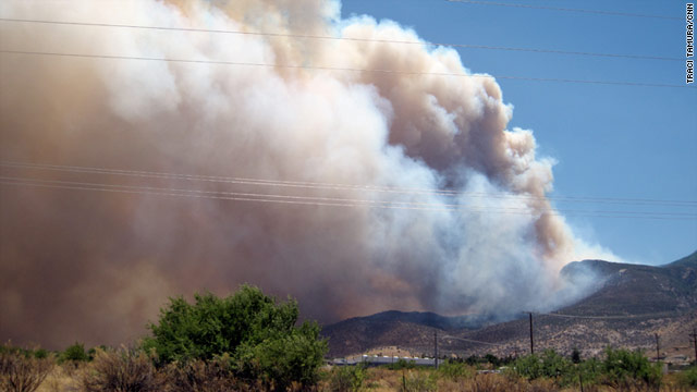 Smoke billows from the Monument Fire near Sierra Vista, Arizona, on Sunday.